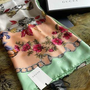 Gucci Silk Shawl/Scarf Aqua-Pink